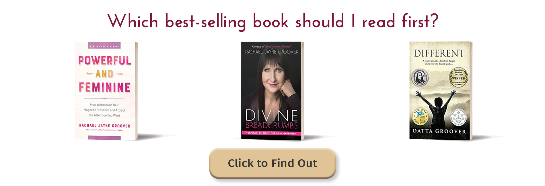 Graphic with books of best-selling books from Rachael Jayne Groover and Datta Groover